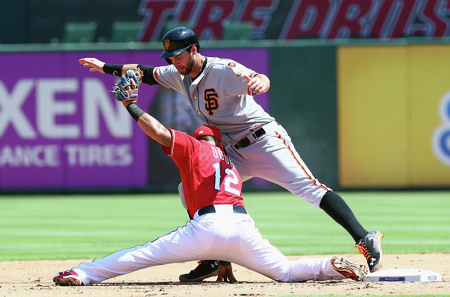 Brandon Belt and Rougned Odor Photograph by Ronald Martinez