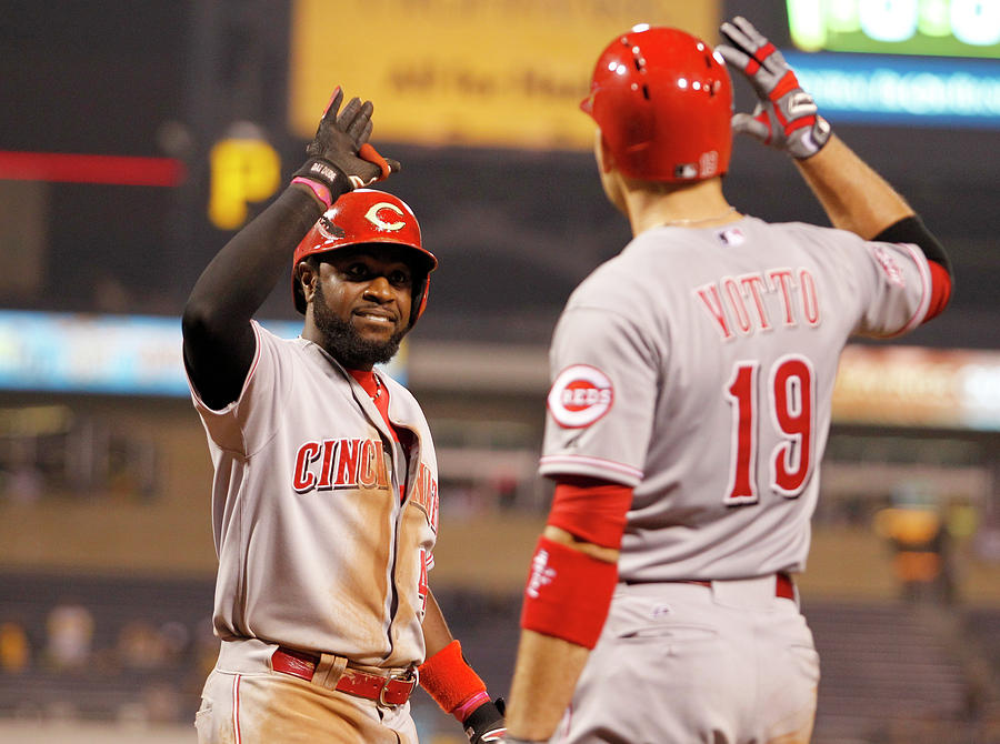 Brandon Phillips and Joey Votto Photograph by Justin K. Aller