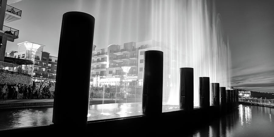 Branson Landing Fountain Panorama At Dusk In Black And White Photograph