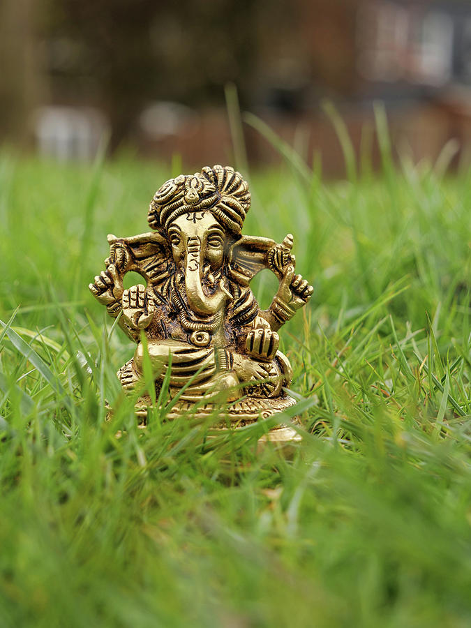 Brass Statue Of Lord Ganesha On The Grass Photograph