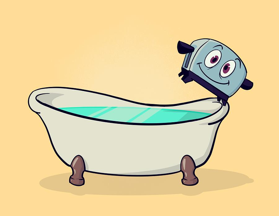 Toaster Drawing - Brave Little Bathtub by Ludwig Van Bacon