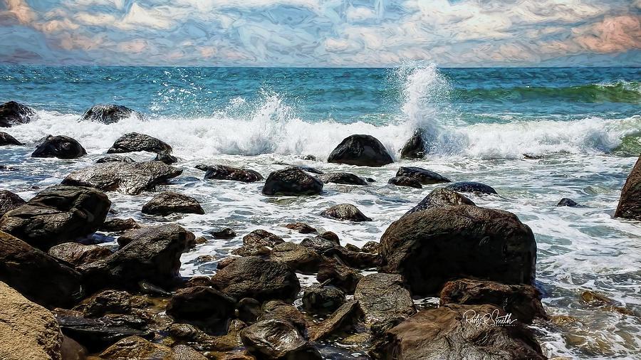 Breaking waves,rocky beach. Rhode Island. by Rusty R Smith