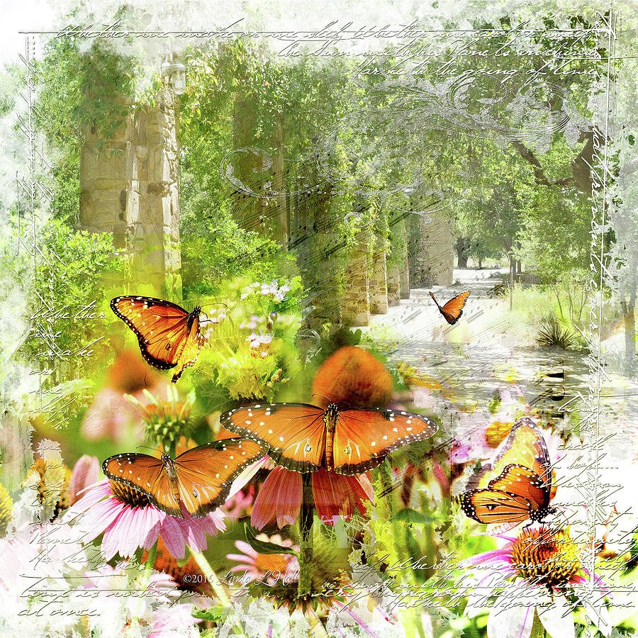 Green Digital Art - Breezes and Butterflies by Linda Lee Hall