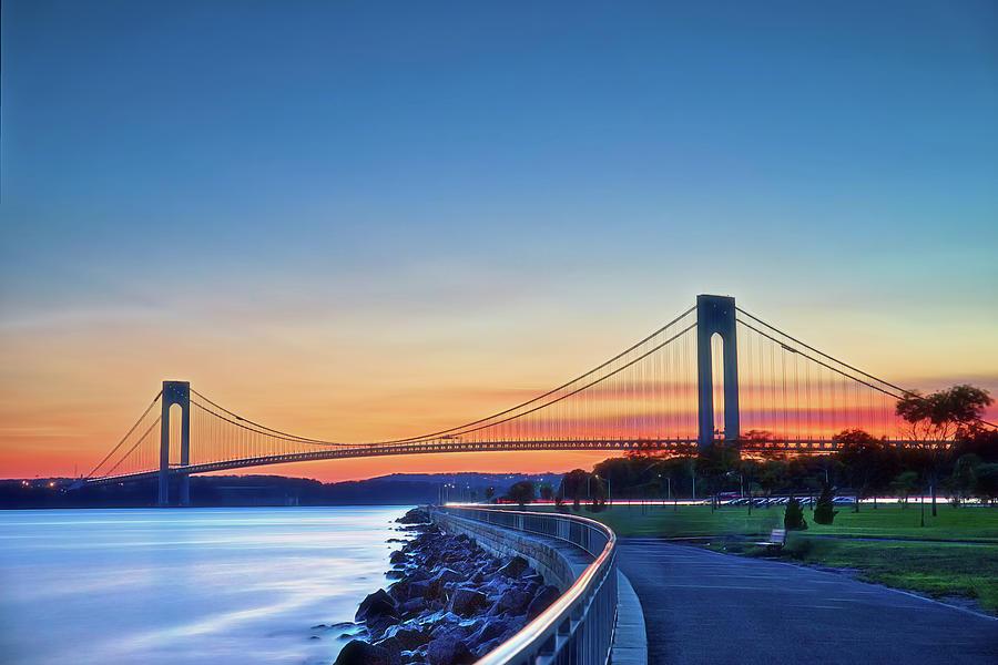 Verrazzano Photograph - Bridge At Sunset by Zev Steinhardt