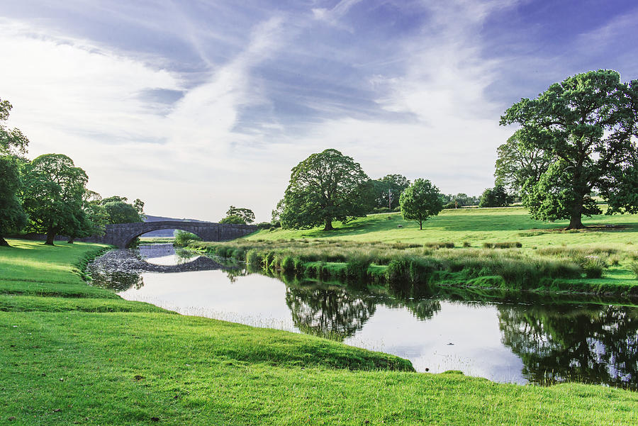 Bridge In Dallam Park, Milnthorpe, Cumbria Passing Over The River Bela On A Sunny Evening Photograph