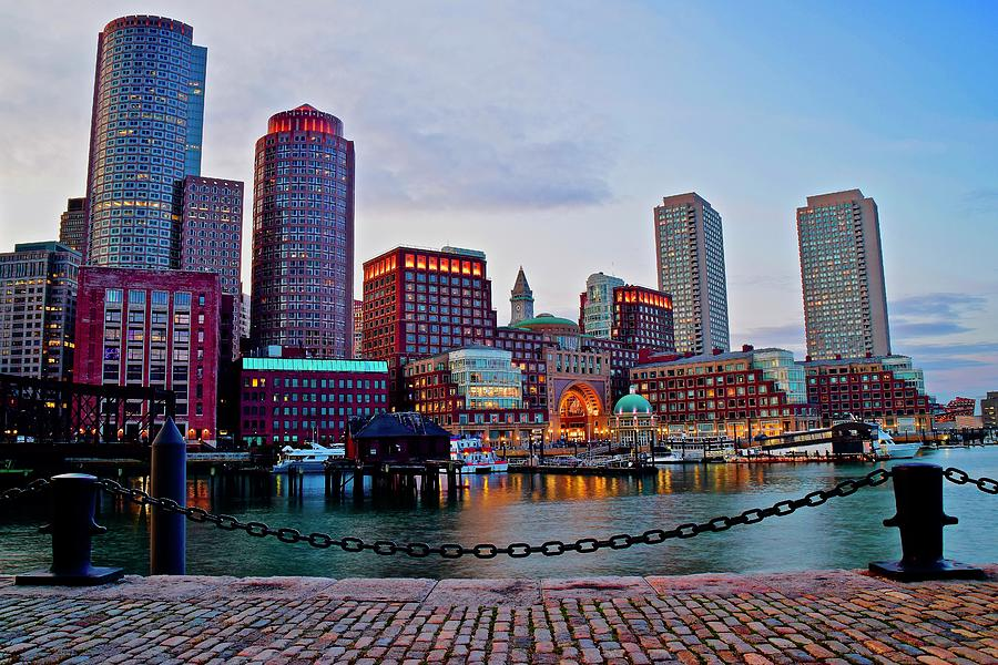 Bright Boston Harbor Lights by Frozen in Time Fine Art Photography