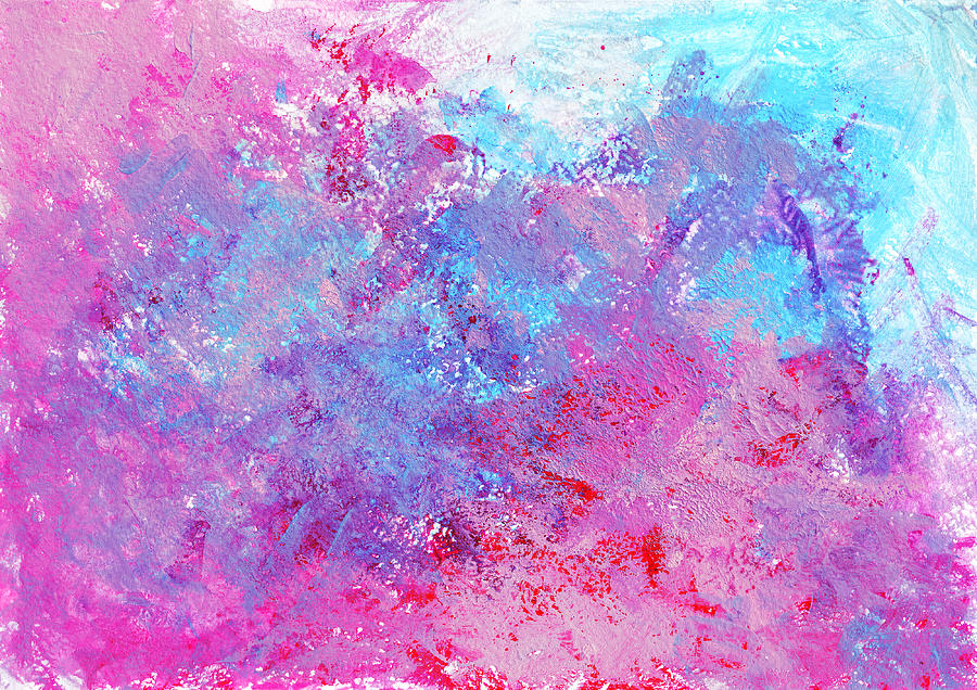 Bright Creative Texture With Paint Blots And Splashes. Pink Blue Acrylic Gouache Ink On White Paper. Stained Raster Color Art Background. Hand Drawn Pattern Photograph