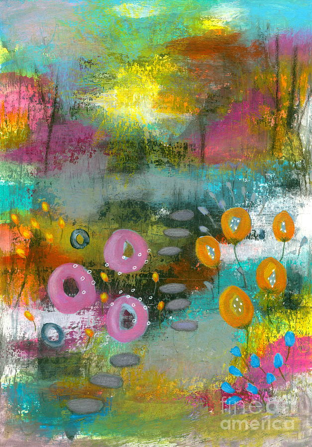 Abstract Flowers Painting - Bright Curiosity 1 Abstract Landscape by Itaya Lightbourne