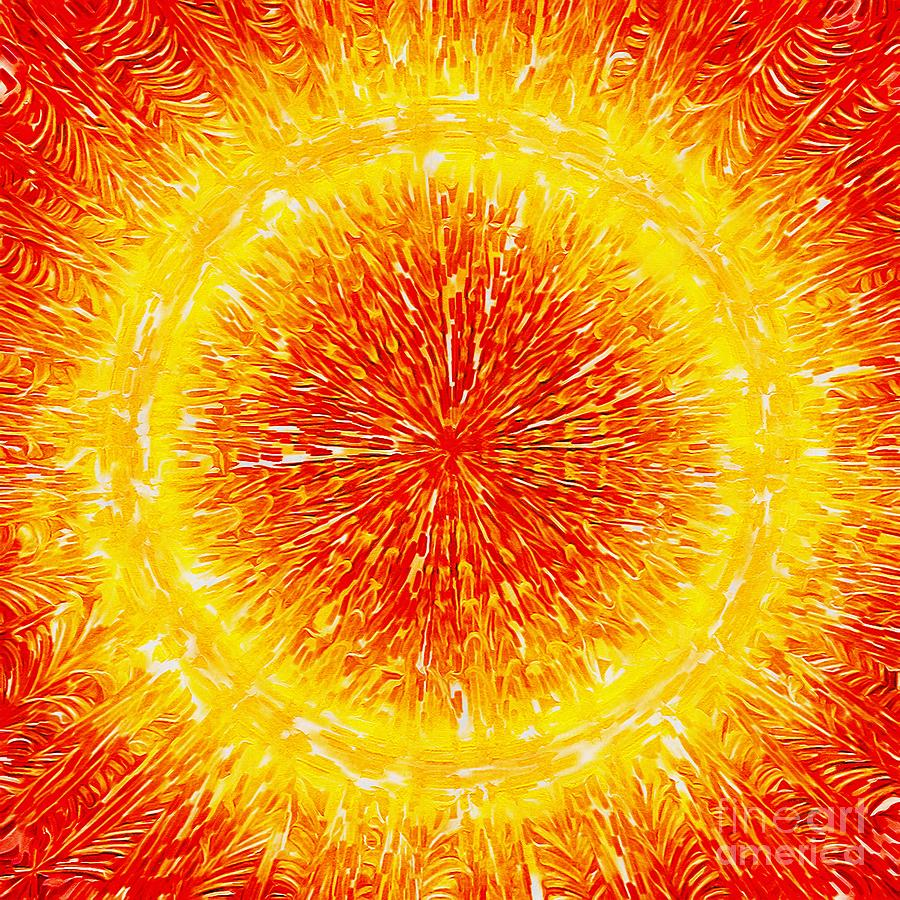 The Sun Digital Art - Bright Red and Golden Solar Flare from near The Sun by Douglas Brown