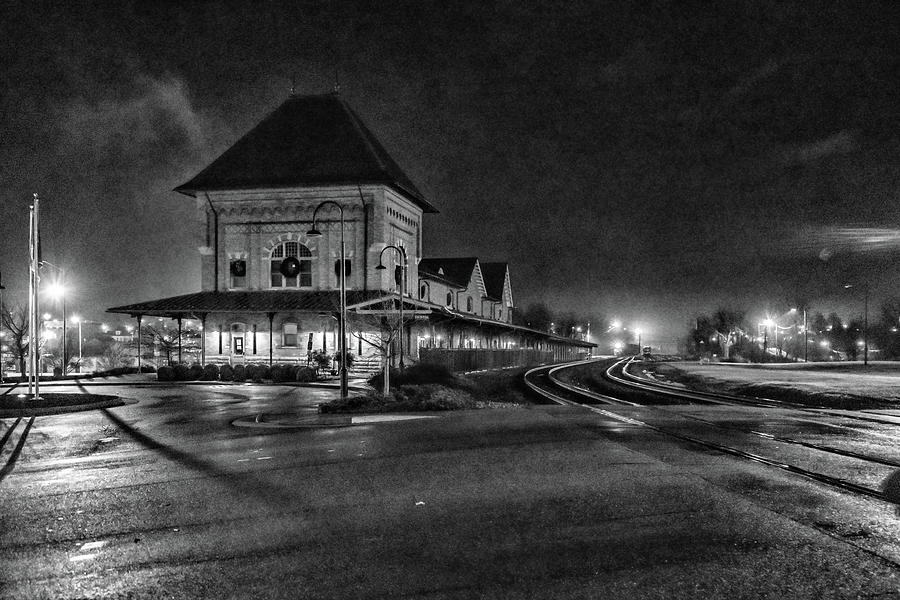Bristol Train Station at Night Black and White by Sharon Popek