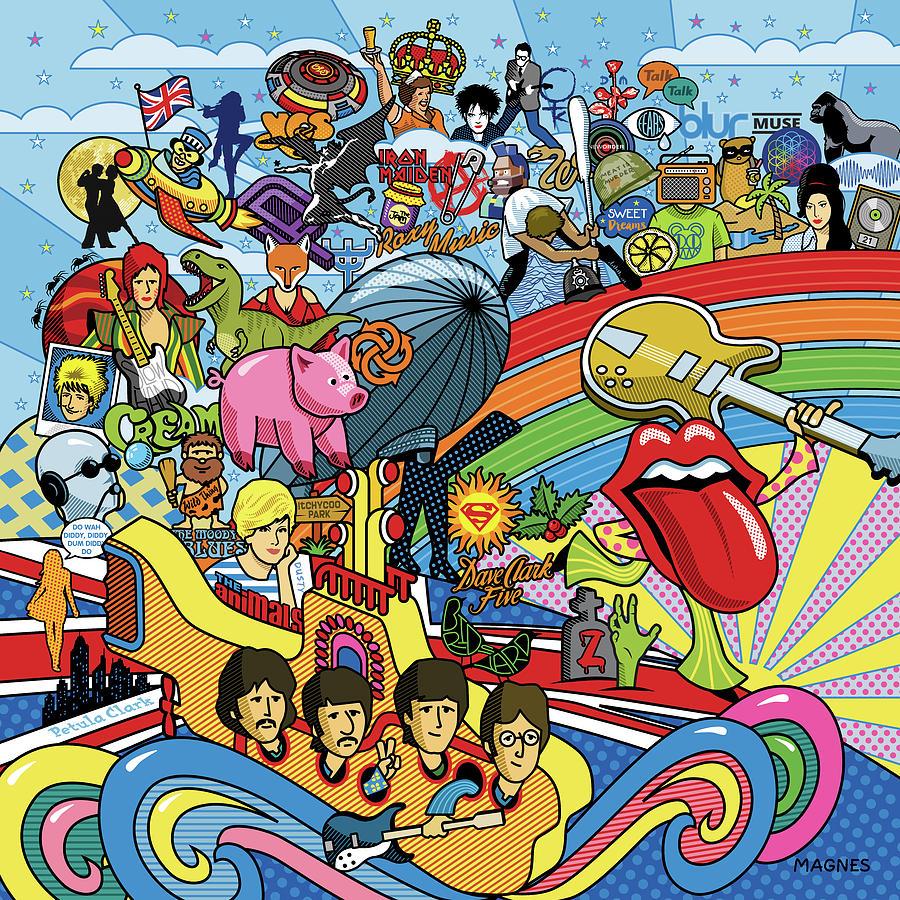 Music Digital Art - British Invasion 64 by Ron Magnes