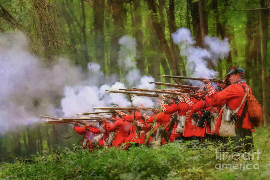 Battlefield Digital Art - British Soldiers Volley Fire Two by Randy Steele