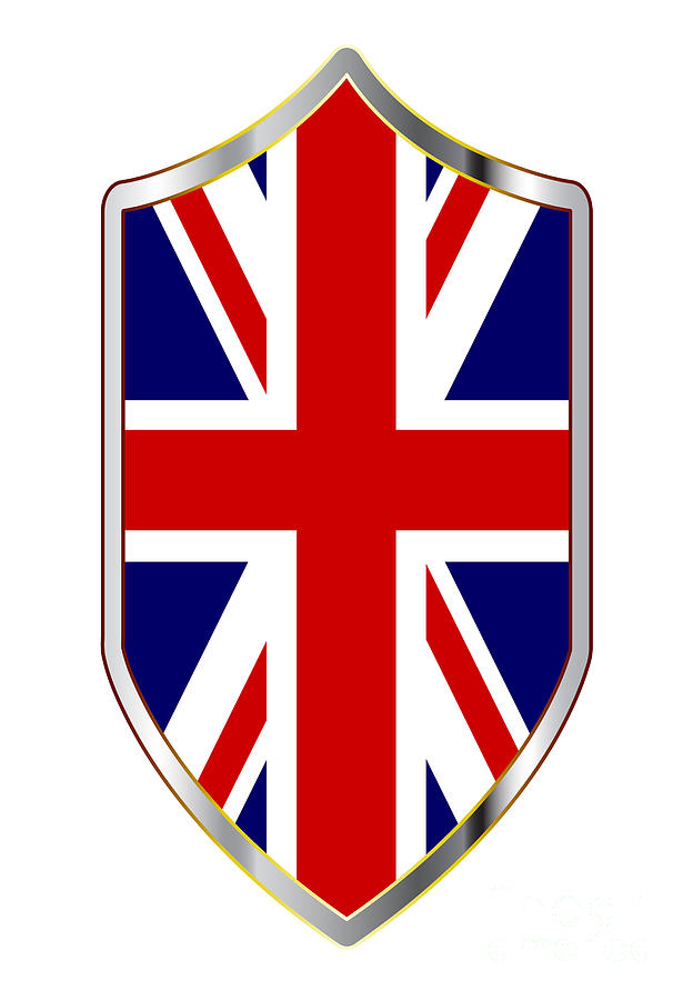 Union Jack Digital Art - British Unipon Jack Flag On A Crusader Shield by Bigalbaloo Stock