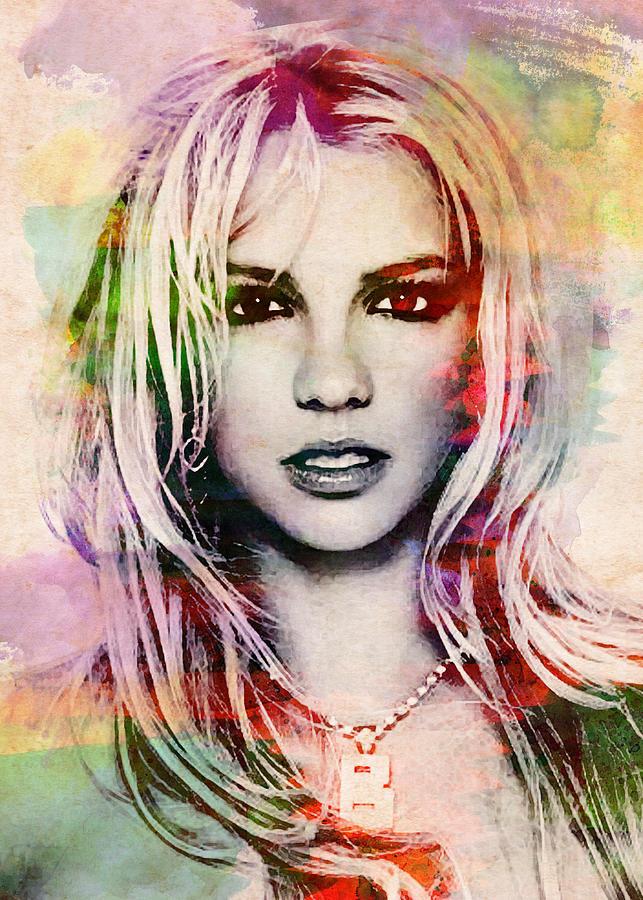 Britney Spears Watercolor Portrait Digital Art