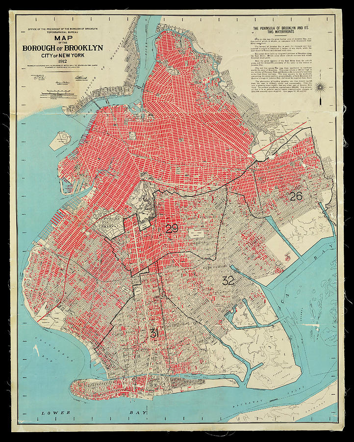Brooklyn Borough Map 1912 showing congested areas in red by Phil Cardamone