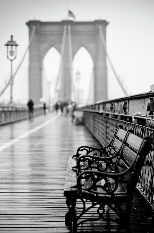 Brooklyn Bridge In Rain Photograph