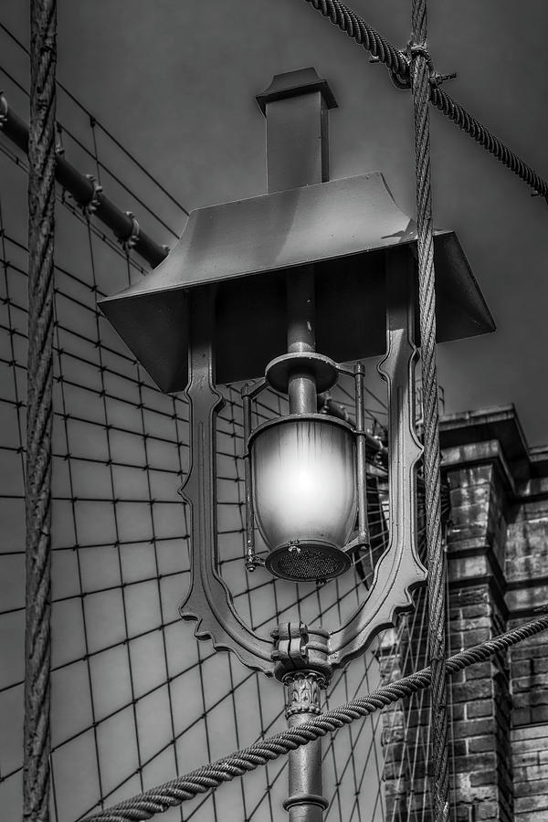 Brooklyn Bridge Lamp BW by Susan Candelario