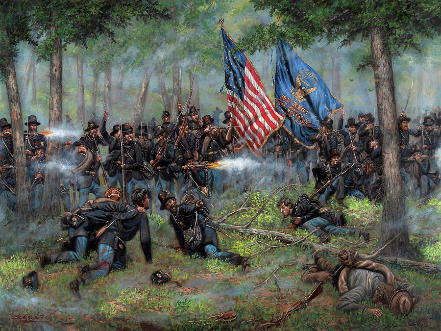Iron Brigade Painting - Brothers of War - The 19th Indiana Infantry at Gettysburg by Mark Maritato
