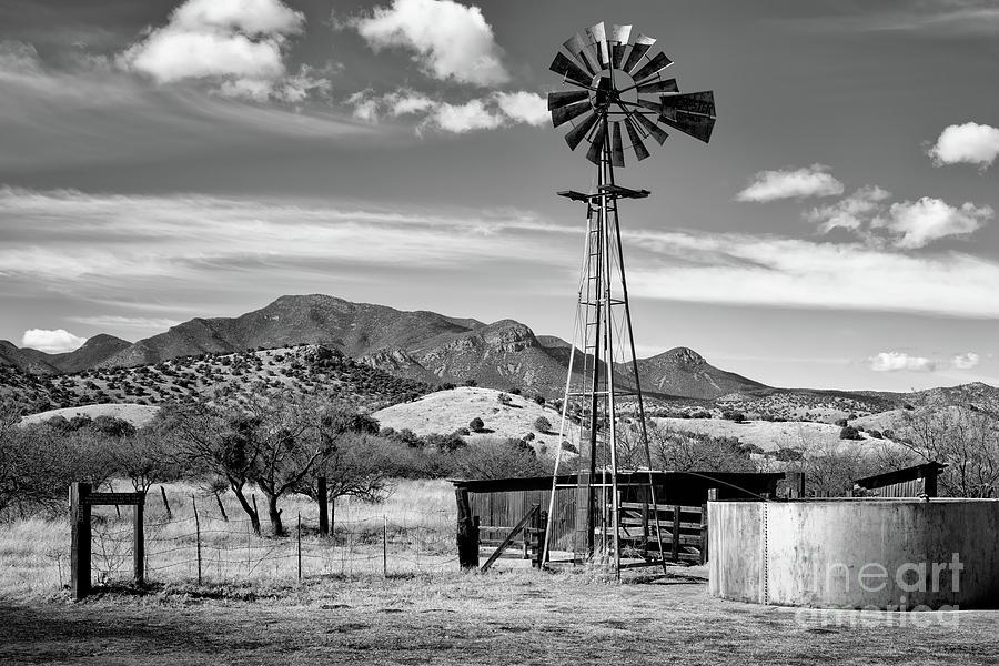 Brown Canyon Windmill Bw Photograph