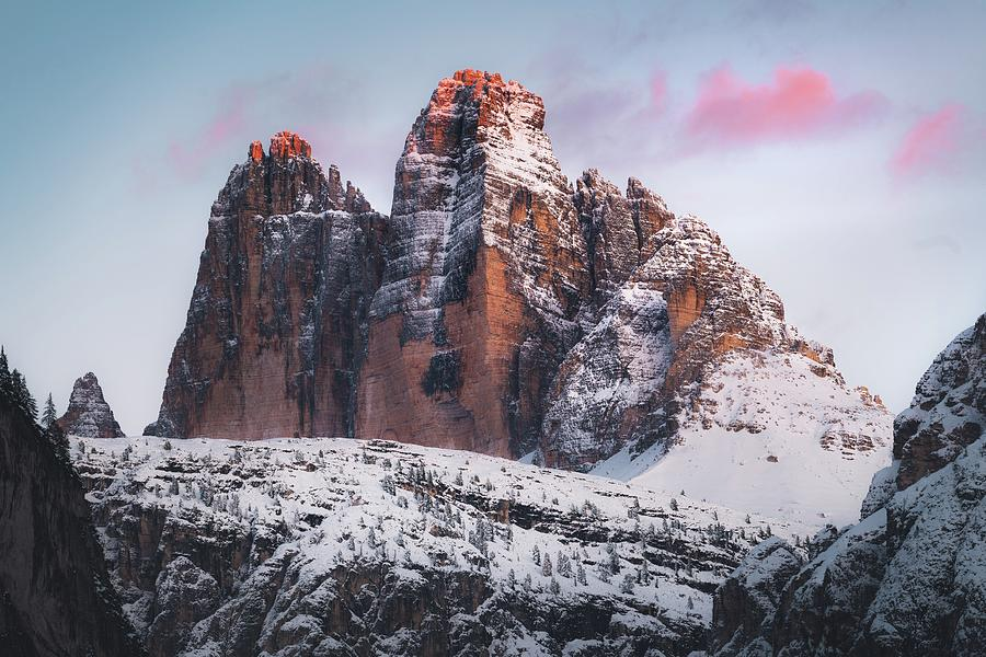 brown rocky mountain covered by snow during daytime - Tre Cime di Lavaredo, Italien Photograph
