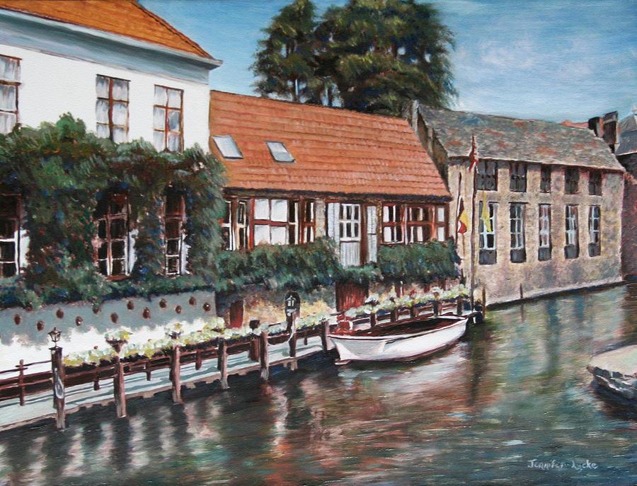 Belgium Painting - Bruges Boat in Belgium by Jennifer Lycke
