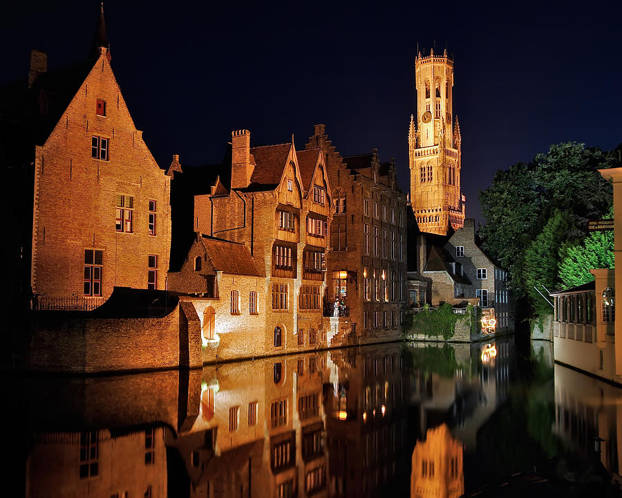 Architecture Photograph - Brugge Night by Adam Romanowicz