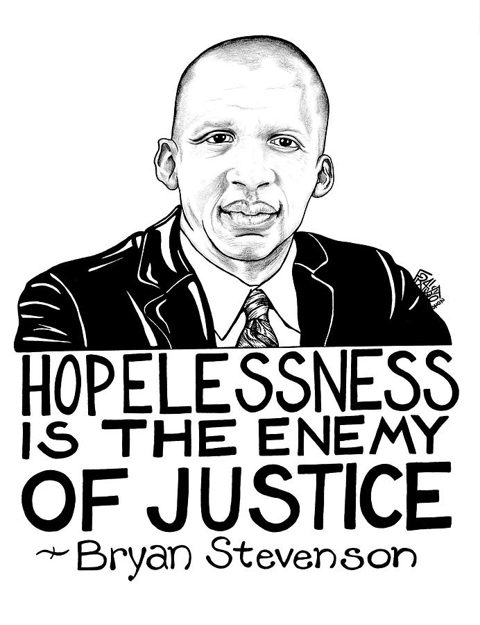 Pen And Ink Illustration Drawing - Bryan Stevenson Drawing by Rick Frausto
