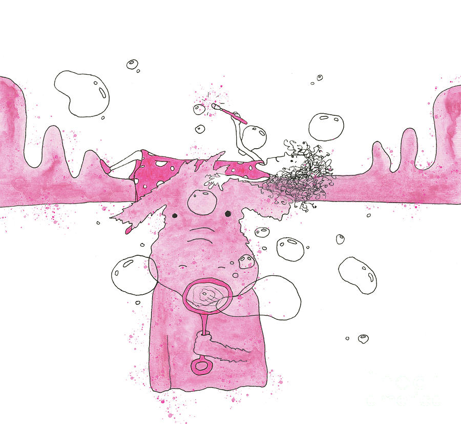 Bubble Blowing Pink Moose by Mike Mooney