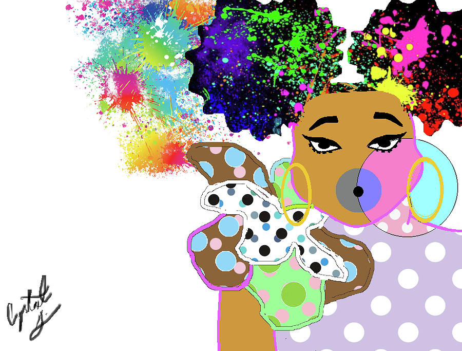 Black Girl Digital Art - Bubblicious by Crystal Guidry