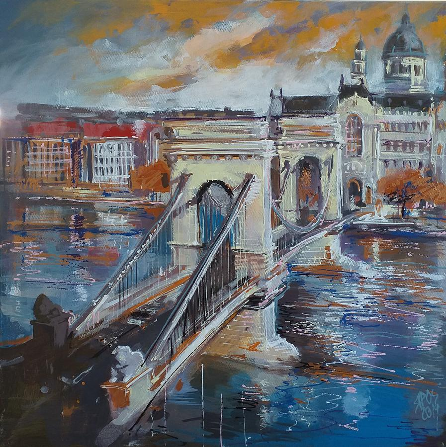 Budapest, Chain Bridge View With Danube Painting
