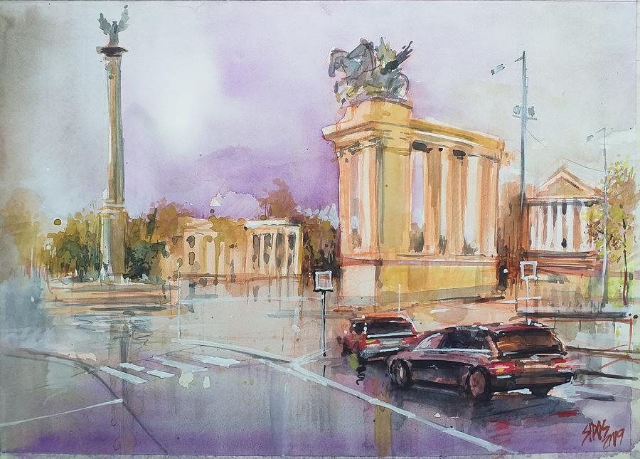 Budapest Heroes Square In A Rainy Day Painting