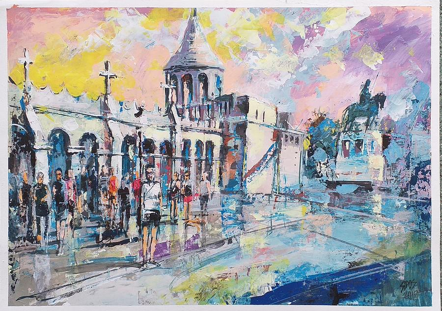 Budapest The Buda Castle With Tourists Painting