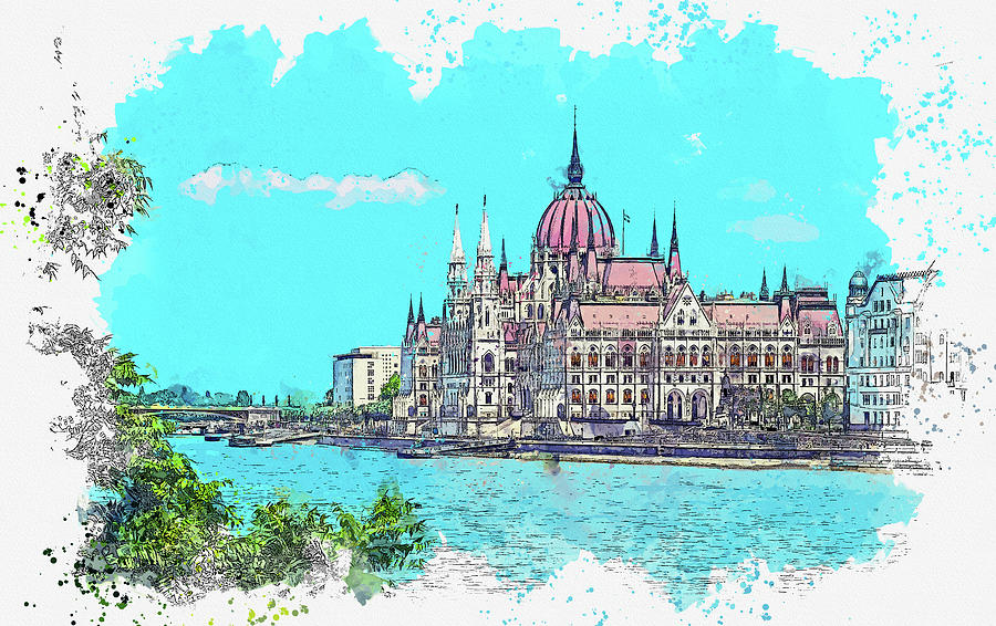 Budapest - The Parliament, Watercolor, By Ahmet Asar Painting