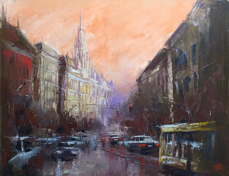 Budapest With New York Palace Painting