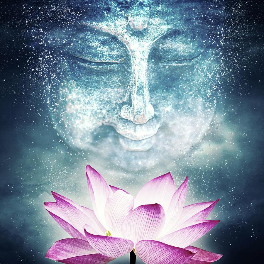 Buddha And Lotus Flower Digital Art