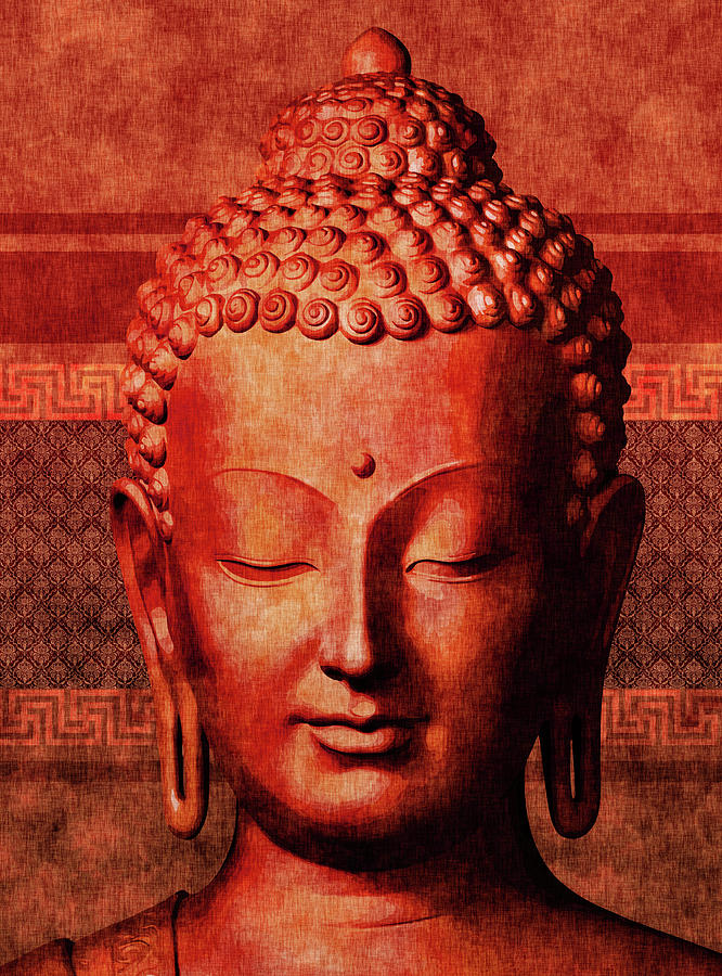 Buddha - Crimson Stillness Mixed Media