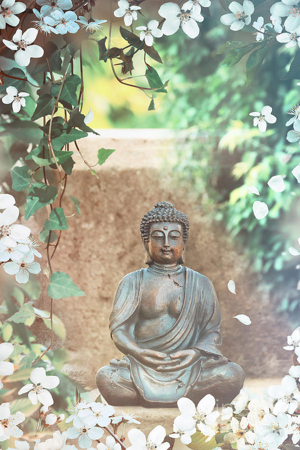 Buddha Garden Statue With Vines And Flowers Photograph By Sandra Cunningham