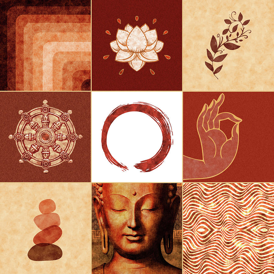 Buddha Grid 01 - Spiritual Collage Mixed Media