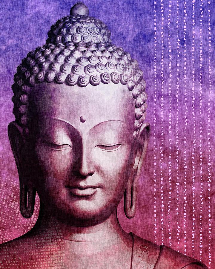 Buddha - Purple Skies Mixed Media