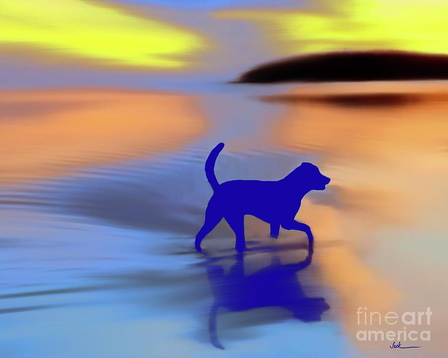 Dog Painting - Buddy at the Beach by Jack Bunds