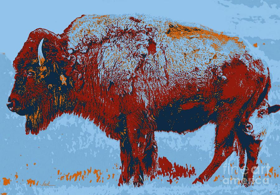Buffalo Painting - Buffalo And Calf by Jack Bunds