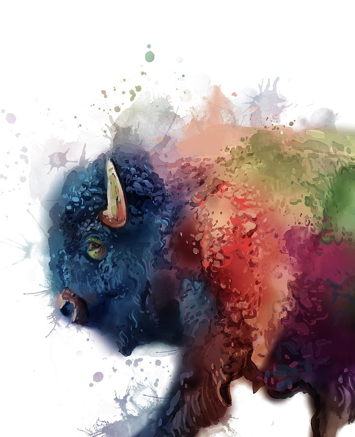Buffalo Colorful Portrait Digital Art