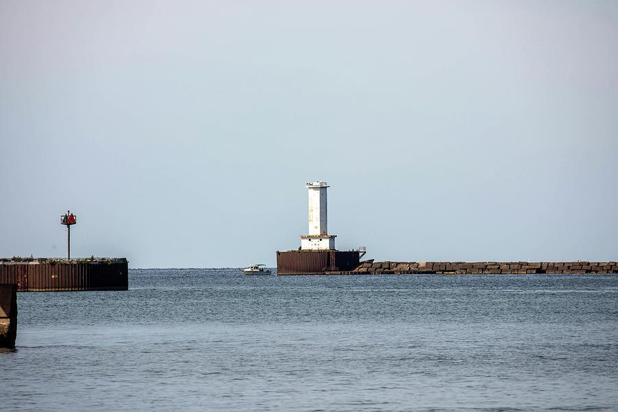Buffalo Harbor Lighthouse On Lake Erie Channel Photograph