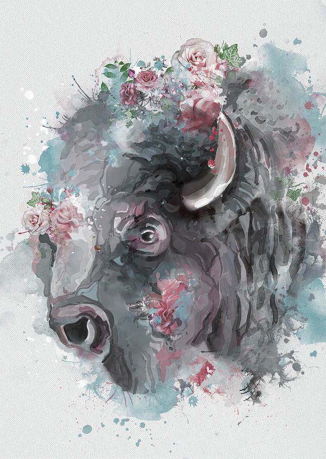 Buffalo Head Vintage Digital Art