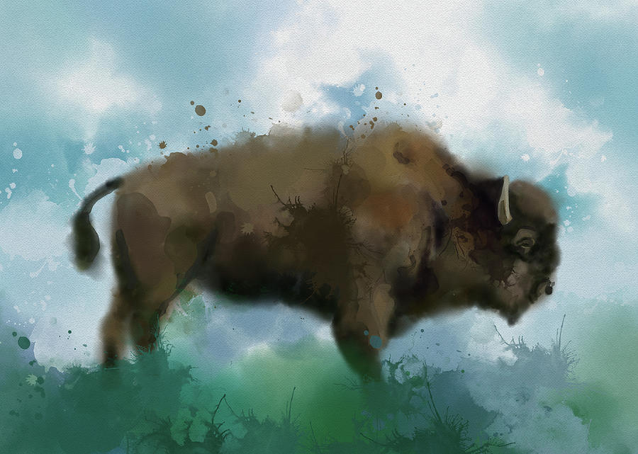 Buffalo Vintage Watercolor Digital Art