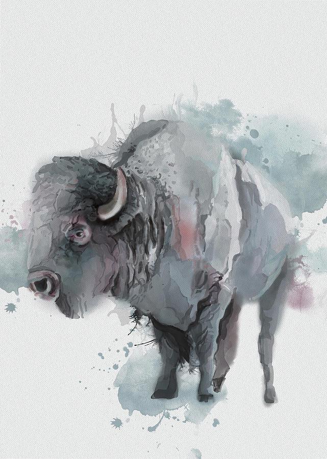 Buffalo Watercolor Artistic Digital Art
