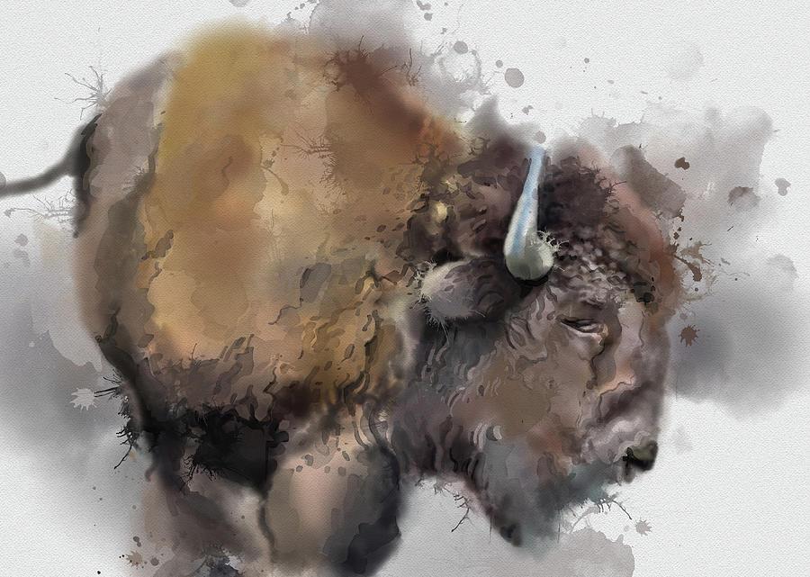 Buffalo Watercolor Portrait Digital Art