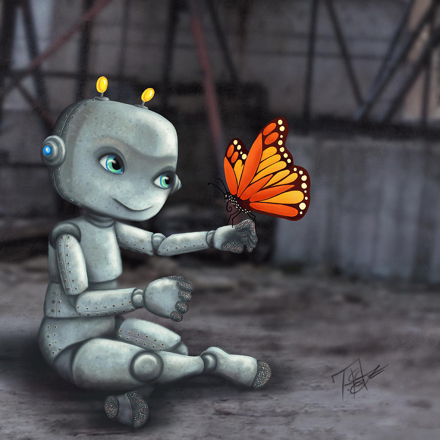 Robot Digital Art - Bugs and Bots Butterfly by Tes Scholtz
