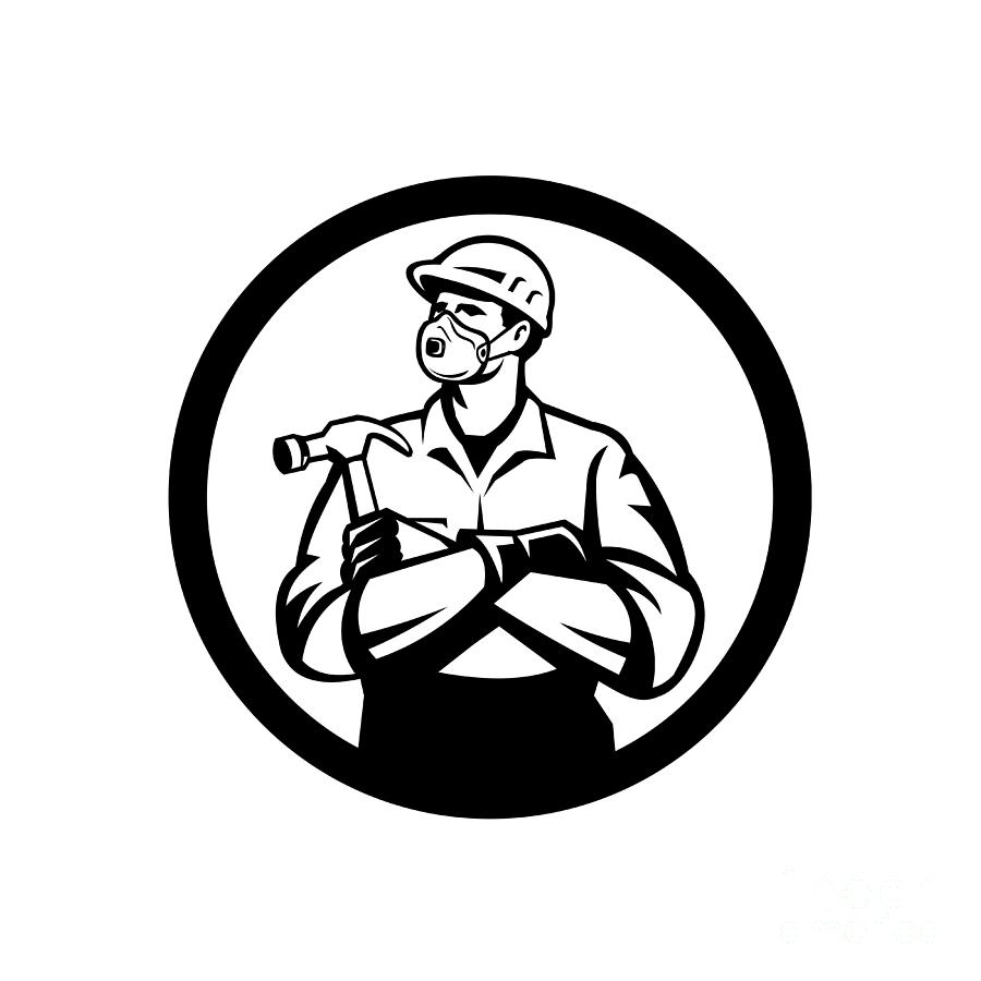 Builder Carpenter Wearing N95 Particulate Respirator With Arms Crossed Holding Hammer Inside Circle Retro Style Digital Art