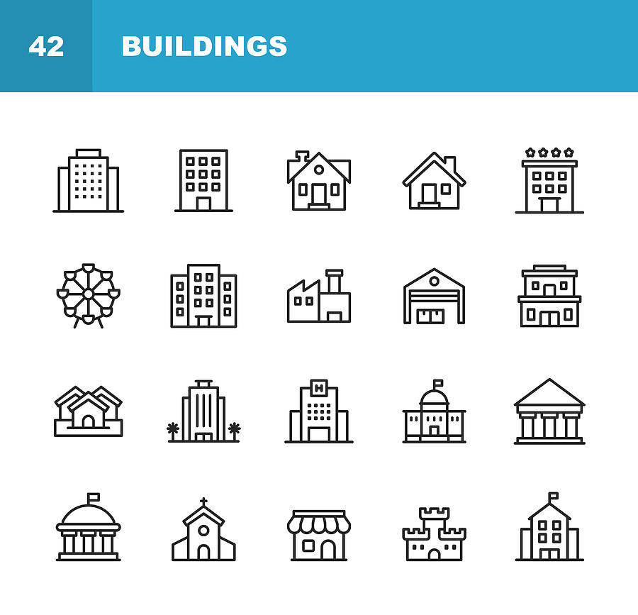 Building Line Icons. Editable Stroke. Pixel Perfect. For Mobile and Web. Contains such icons as Building, Architecture, Construction, Real Estate, House, Home, School, Hotel, Church, Castle. Drawing by Rambo182